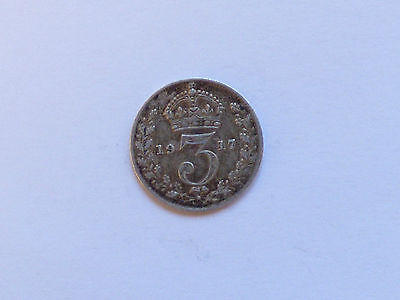 Great Britain George V Threepence Coin 1917