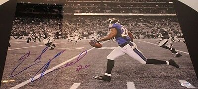 Ed Reed Signed Autographed Game INT Ravens Game Day 16x20 Photo PSA