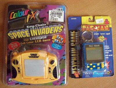 2x Rare MGA LCD Handheld Game KEYCHAIN PACMAN (1997) + SPACE INVADERS (1999)