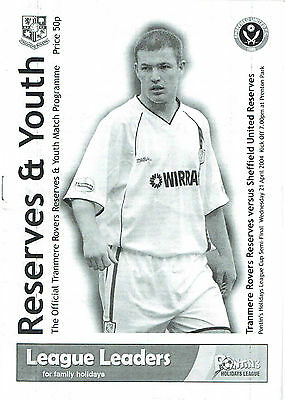 Tranmere Rovers res v Sheffield United res (Cup) - 21/04/2004