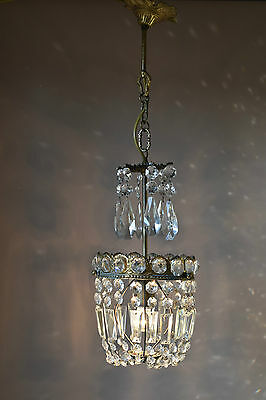 Purse Antique French Fixtures Vintage Crystal Chandelier Lamp Old Lighting Parts