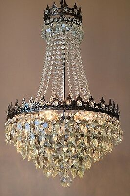 Chic Shabby Antique French Vintage Crystal Chandelier Lamp Art Nouveau Lighting