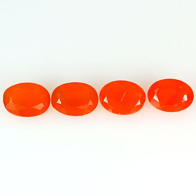 2.960 Ct 100% Natural Museum Grade Fine Orange Red Mexican Fire Opal Oval 4 Pcs