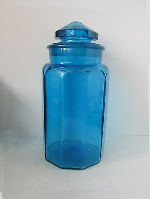 "2114-Blue Vintage  Glass Flour Canister 12"" by L.E. Smith Glass"