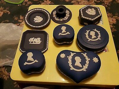 wedgewood jasperware set joblot trinket boxes etc candle holder