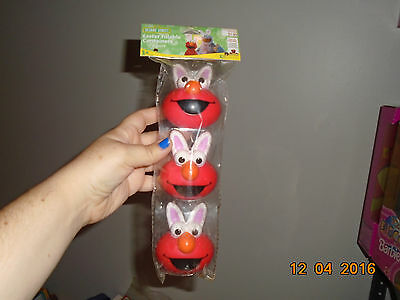 NIP Sesame Street Set of 3 Elmo Tin Containers Easter Bunny Rabbit