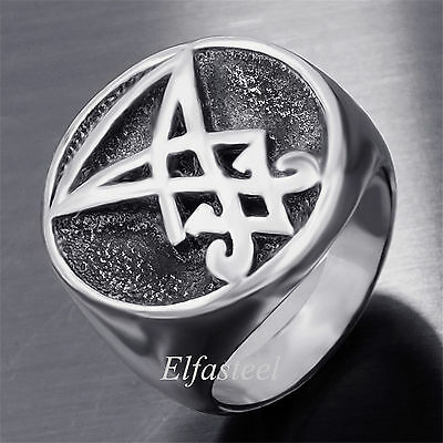 Sigil of Lucifer Stainless Steel Seal of Satan Stainless Steel Men Ring
