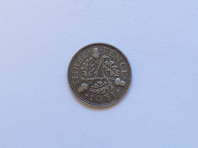 Great Britain George V Threepence Coin 1931