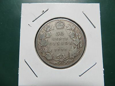 CANADA 1931 silver half dollar fifty 50 cents cent piece Canadian