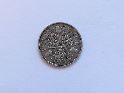 Great Britain George V Threepence Coin 1935