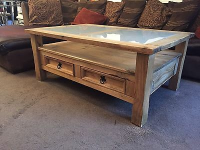 Corona Wooden Glass Coffee Table with Two Drawers