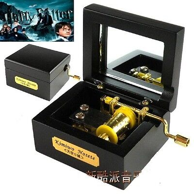 Black Square in Wood Hand Crank Music Box : Harry Potter Hedwigs Theme