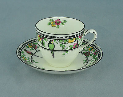 Beautiful Royal Doulton Series Ware Exotic Birds Cup And Saucer Art Deco 1926