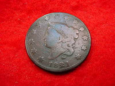1821 Coronet Head Large Cent Very Nice Key Date Coin!!   #50