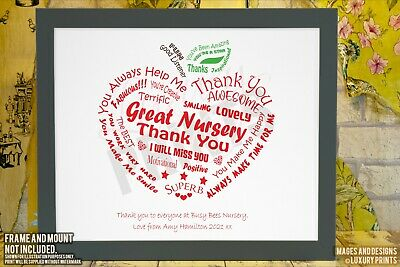 Personalised Nursery Preschool Thank You Picture Print Gift Leaving Present Appl