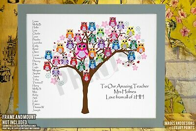 Personalised TEACHER THANK YOU CLASS TREE OWL Picture Print Gift Leaving Present