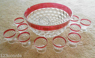 Beautiful Ruby Flash Punch Bowl With Cups Vintage
