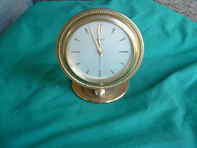 Old vintage solid brass Opera Swiss 8  alarm clock (1318978) collectible deco ++