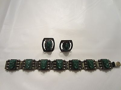 Vintage Mexican Sterling Silver Green Onyx Bracelet & Earrings Aztec Face Chunky
