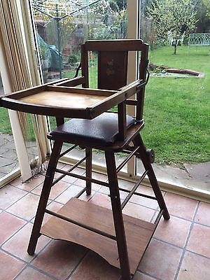 Antique Vintage Metamorphic High Chair Ex Con. Matching Cot Available