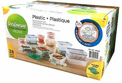 SNAPWARE 38 Pieces Plastic Food Storage Set Containers Airtight Leakproof NEW