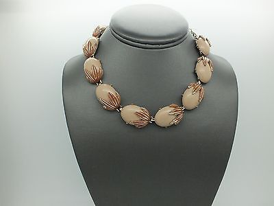 Vintage  Gold Tone Brown Enamel Leaves Tan Lucite Cabochon  Thermoset  Necklace