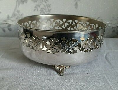 A Vintage Silver Plated Footed Bowl with Cut Out Leaf Pattern
