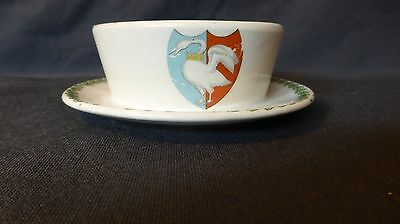 "Grimwades Swanage Crest Pottery Dish 1917 ""Boys in the Trenches"" message"