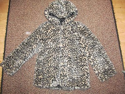 girls size 8-9 years hooded fur coat, gorgeous soft and warm
