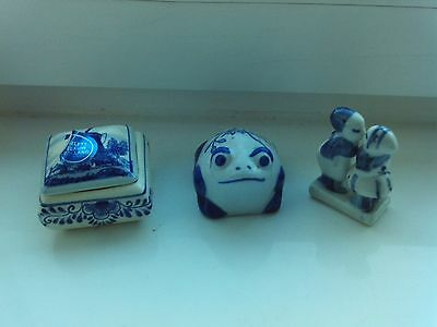China Blue Trinket box, frog and children figure