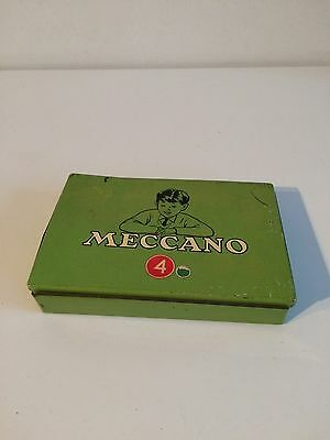 Vintage Meccano No4 Outfit Green Parts Tin