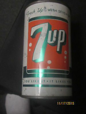 Old Flat Bank Top 7 UP Soda Pop Can 1950 St Louis Missouri Advertising