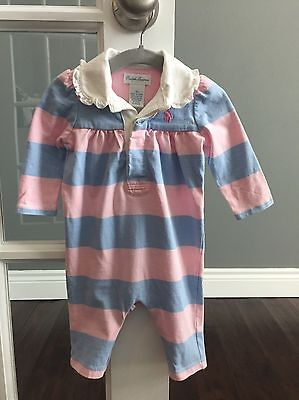 Ralph Lauren Baby Girl Pink Blue Rugby Striped One Piece Romper Overall Sz 3M