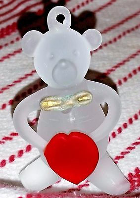 Vintage Frosted Glass Teddy Bear Red Heart Christmas Tree Ornament