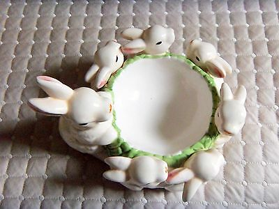 """Ceramic Mother Rabbit with 5 Babies Candle Ring   6-7"""" across/ 3-5"""" Tall"""