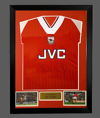 *New* Ian Wright Hand Signed football Shirt in a framed presentation