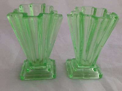 "Pair of 4"" BAGLEY 'Grantham' Clear Green Uranium Glass vases #334 Art Deco"