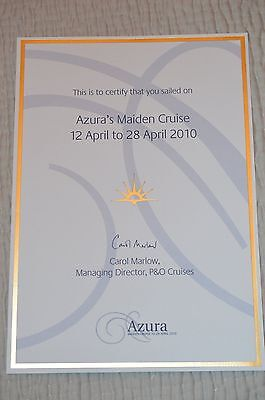 Maiden Voyage of P&O AZURA Certificate and Menu's