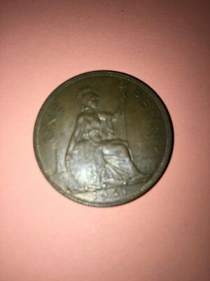 Very  Scarce  1951  King  George  VI   Penny Bronze  British  Coin