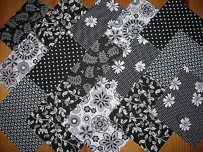 "48 x 4"" CHARM PACK BLACK & WHITE  100% COTTON PATCHWORK/QUILTING/CRAFTS  BKW"