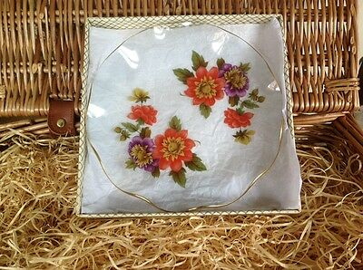 CHANCE GLASS- Fiestaware ~* Dahlia*~ 1 Boxed FLUTED GLASS Small PLATE - 1970s