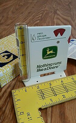 John Deere farm equipment rain gauge NOS tractor implement dealer metal sign