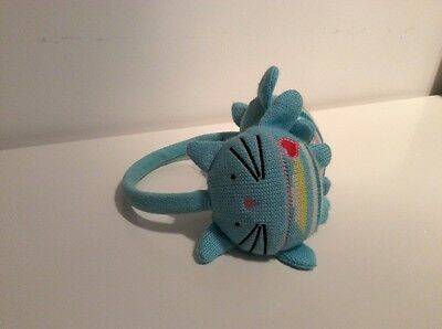 gorgeous turqouise knitted kids earmuffs cute cat design Fab Condition