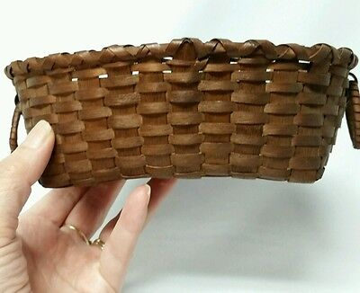 Small Vintage Splint Oblong Basket With Ring Handles