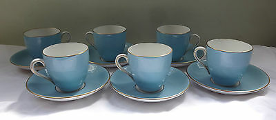 Royal Doulton Demitasse china Coffee cups & saucers 1950's blue