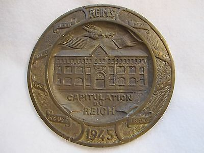 1945 ORIGINAL FRENCH Capitulation Du Reich Brass PLAQUE, MINT, FREE SHIPPING