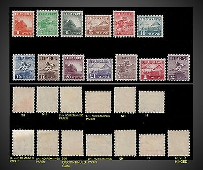 1943 - 1944  Philippines Japanese Occupation Issue - Sc. N12 - N24 H ,lh , Nh