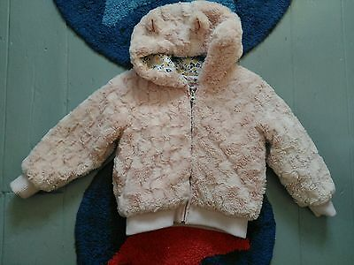 Debenhams bluezoo girls pink fluffy 4-5 years fur ears on hood coat jacket vgc