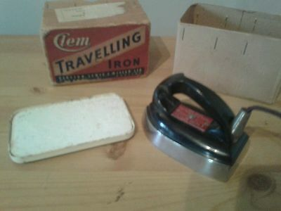 Vintage Clem travelling iron boxed with bakelite handle