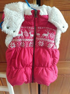 Next girls Christmas Xmas reindeer gilet body warmer red size 5-6 years fur vgc